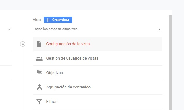 configuracion vista analytics