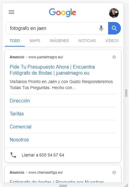 anuncios fotografo google