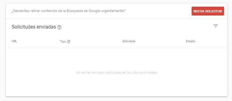 retirada urls search console